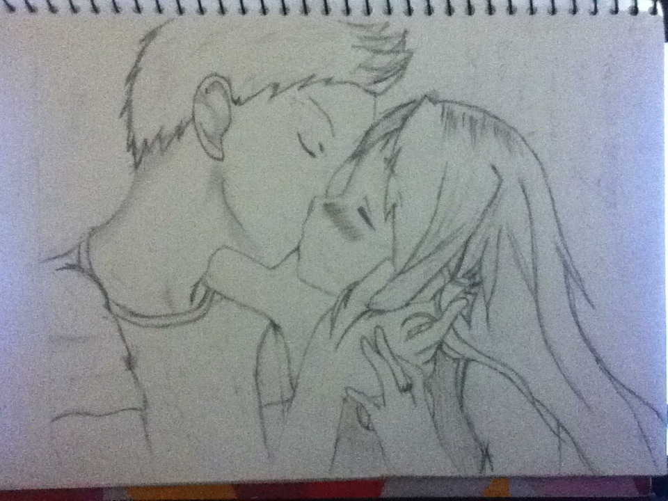 Anime couple kiss by brina rawrmonster