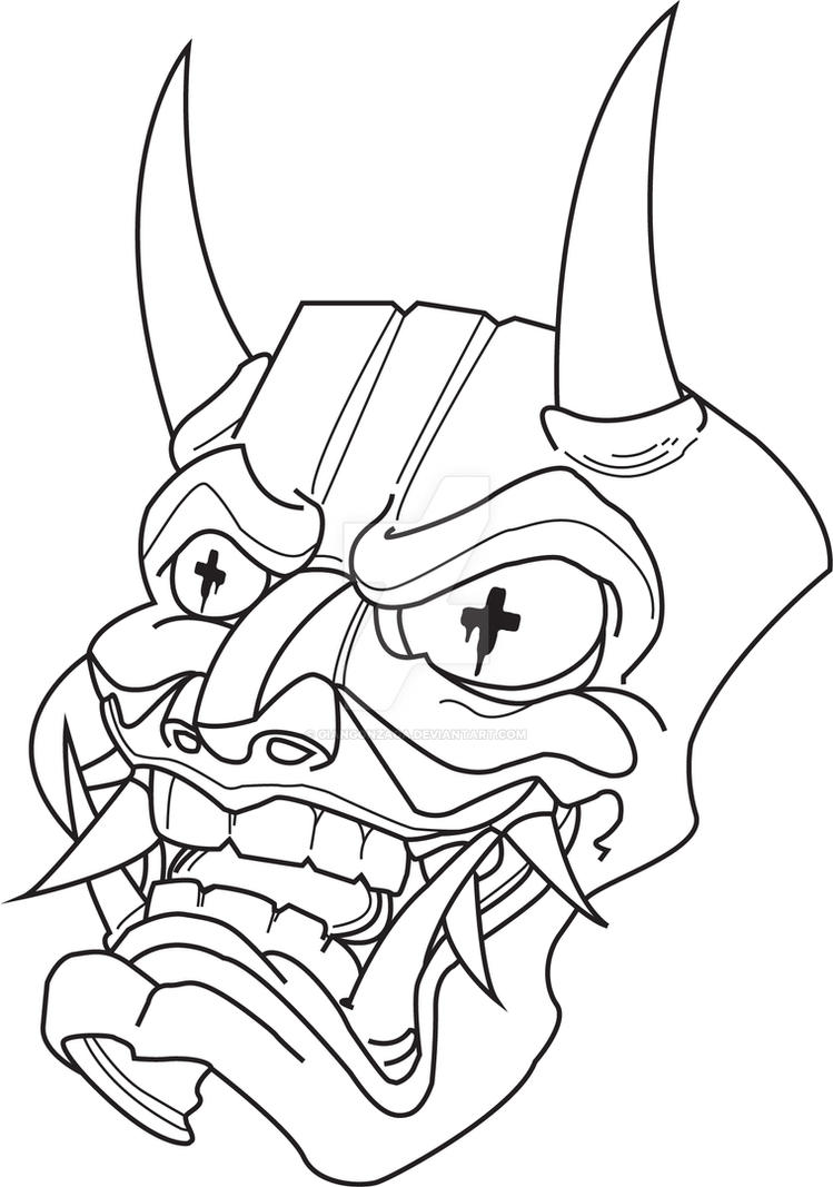 Hannya mask by giangonzaga on deviantart for Kabuki mask template