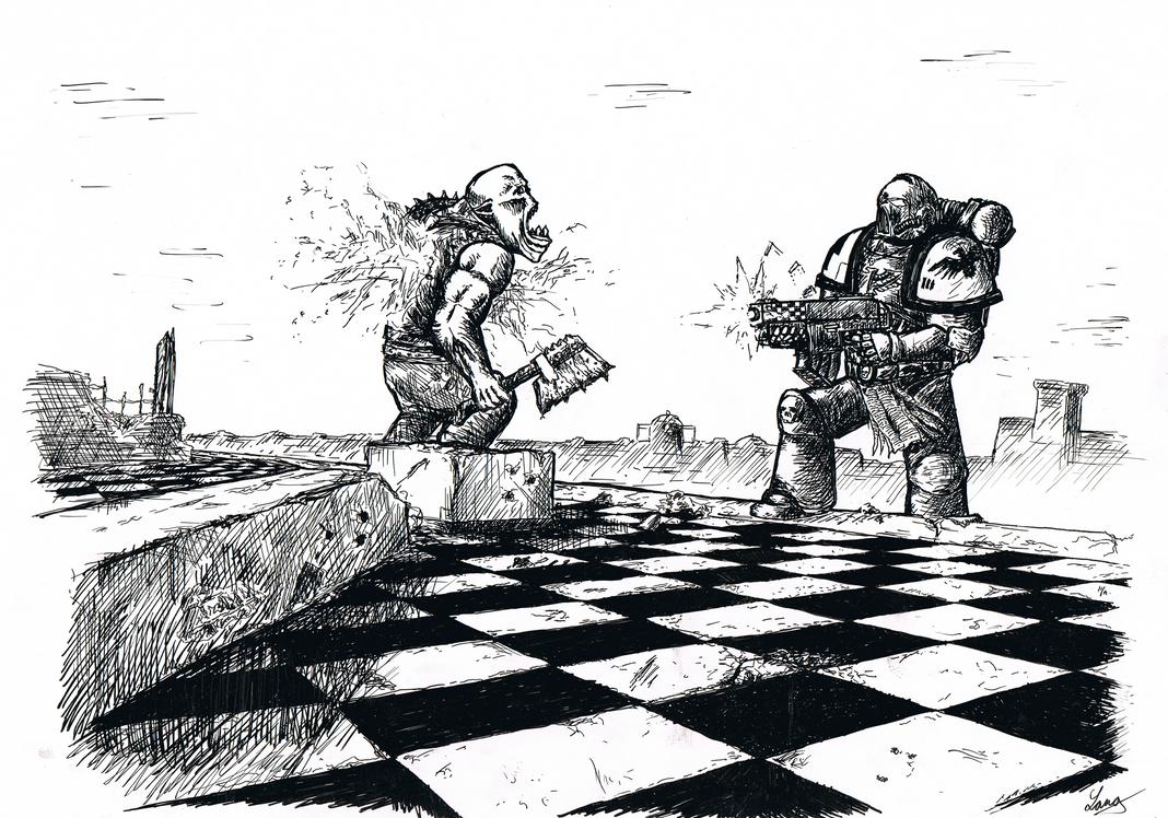Space Marine vs. Ork by Langustyn