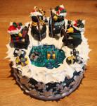 Present Fishing Penguin Christmas Cake