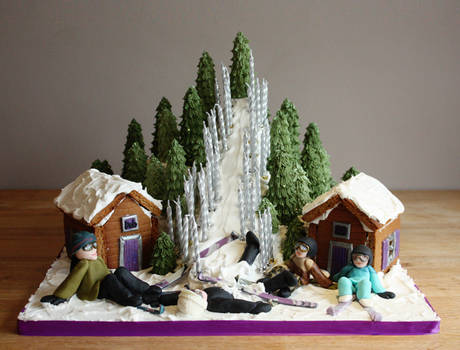 Ski Slope Cake with Gingerbread Chalets