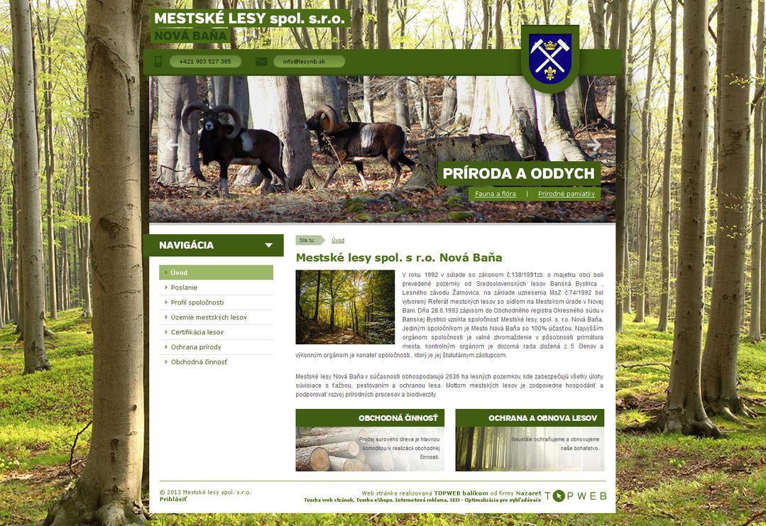 Mestske lesy Nova Bana webdesign by Silence-sk