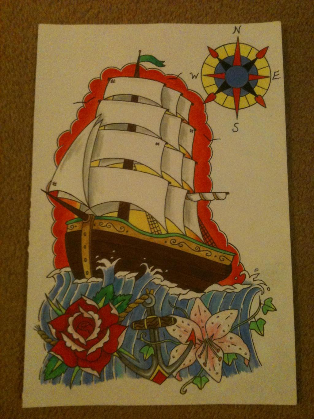 galleon tattoo design by sleepwalker26 on deviantart. Black Bedroom Furniture Sets. Home Design Ideas