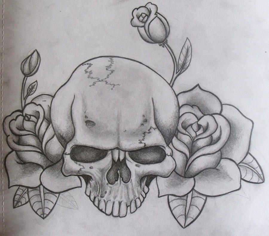 skull and roses by ifinch Skull And Flower Designs