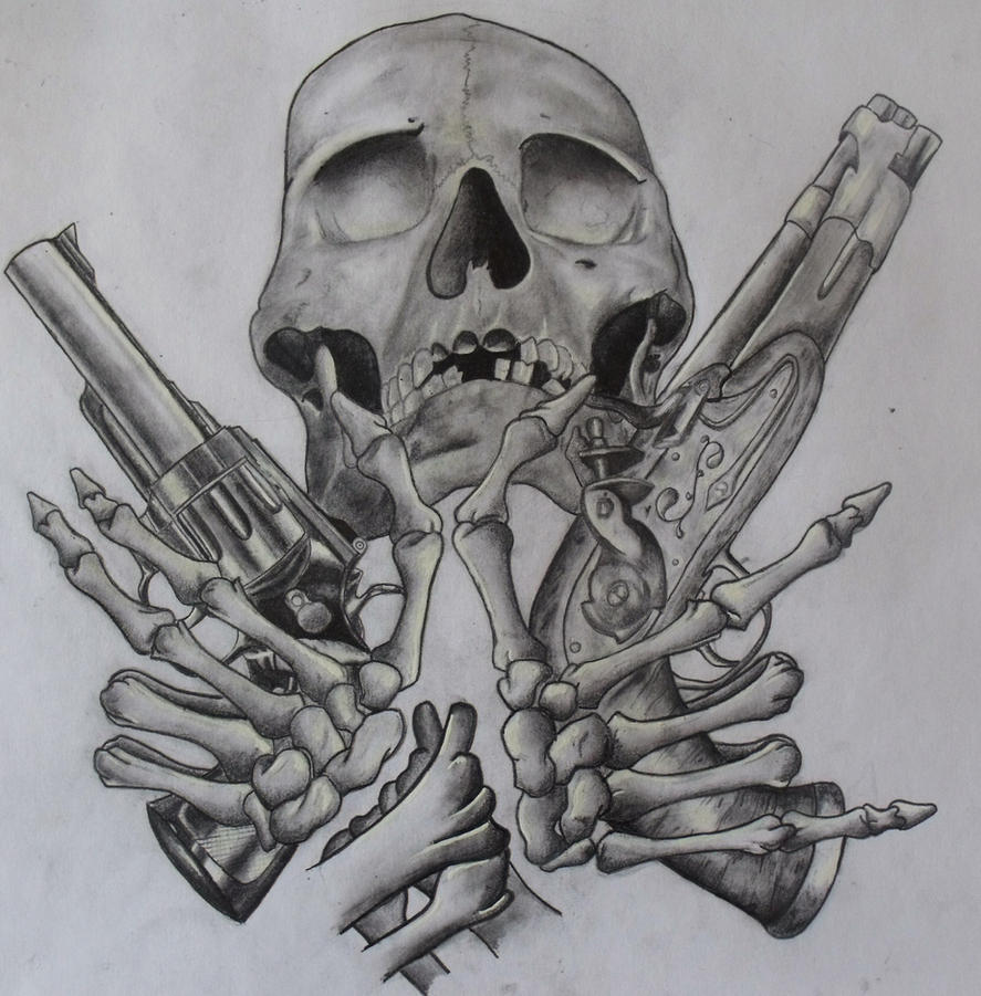 Drawings Easy Skull With Guns: Skull And Guns Unfinished By Ifinch On DeviantArt