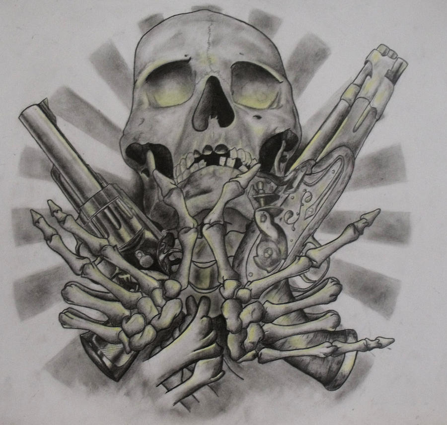 Skull And Guns Unfinished By Ifinch On Deviantart