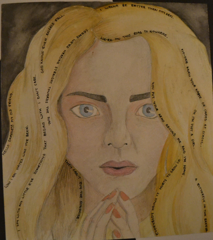 Water colour study of model, lyrics in hair. by FallOrFlyy ...