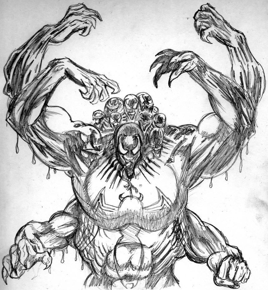 Line Art Vs Sketch : Venom the madness sketch by hunter on deviantart