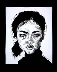 Inked Portrait - Glare Stare