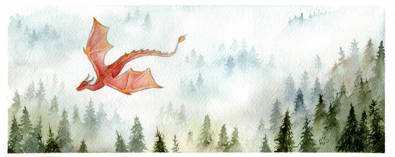 Dragon in the Mist - Watercolour