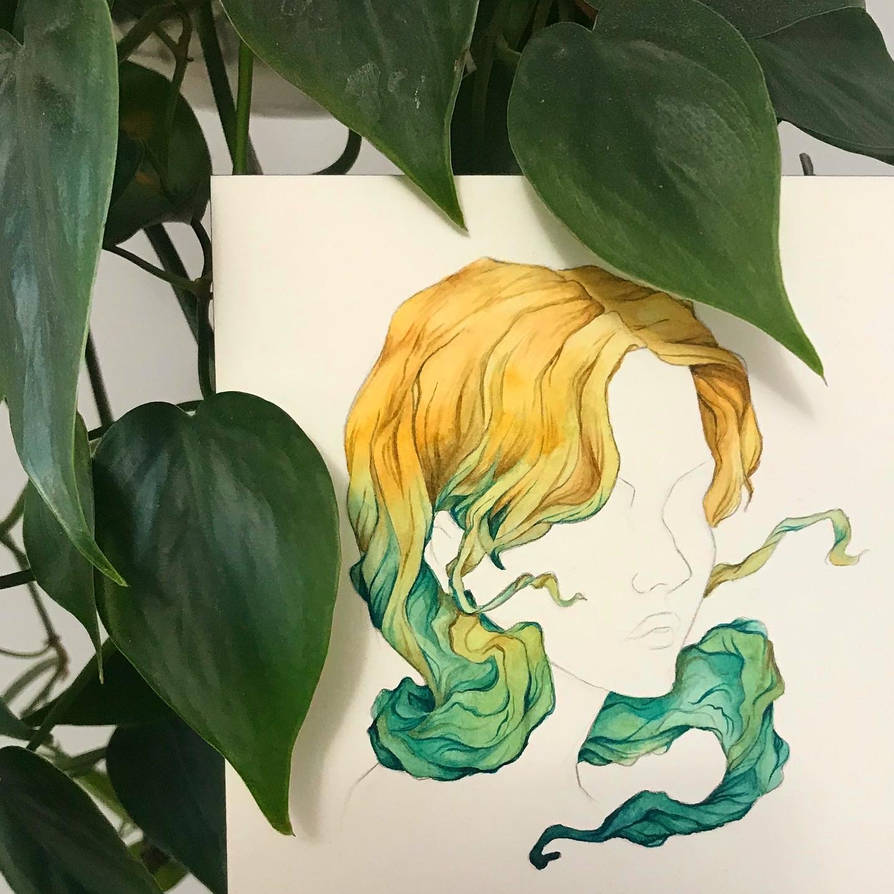 Hair Colour Study - Wheat Gold to Mermaid Green
