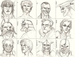 CHARACTER STUIDES -FACES by guece