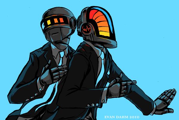 Daft Punk on teal by devilevn