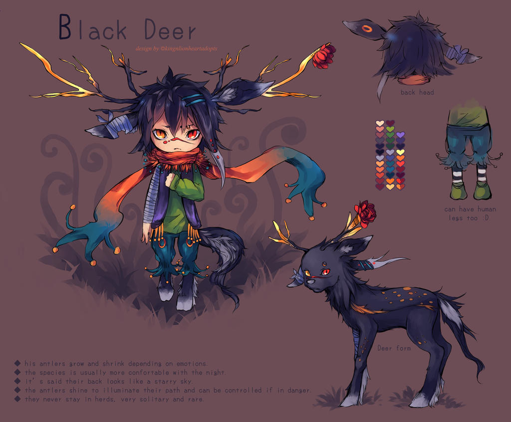 BlackDeer boy - ADOPTABLE - [closed] by KingnLionheartAdopts