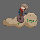 Cowboy riding on a giant slug by PixelRevolver