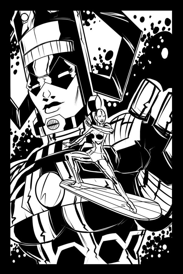 Swaptober: Galactus and Silver Surfer by ffnb