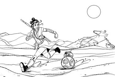 Inktober 2017: Rey and BB-8 by ffnb