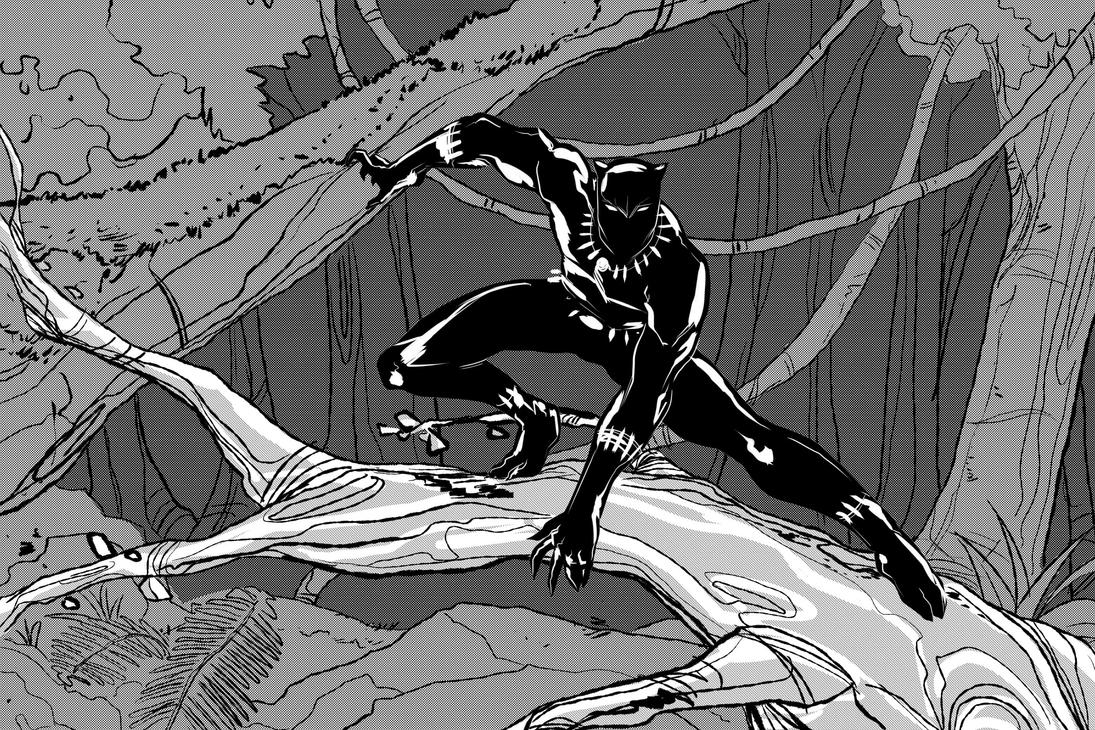 Inktober 2017: The Black Panther by ffnb