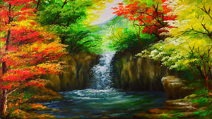 Water Falls In Autumn Forest