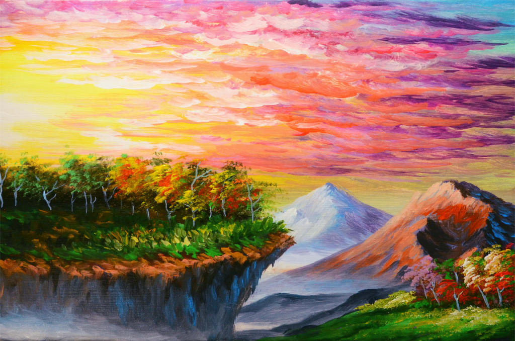 How to paint sunset, cliff, trees, and mountains by beejay ...
