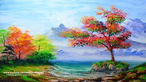 Autumn Trees and Beach by beejay-artlife12