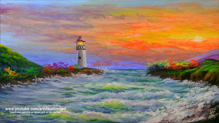 Light House and Sea Waves during Sunrise
