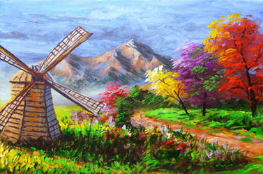 Classic Windmill and Autumn Trees