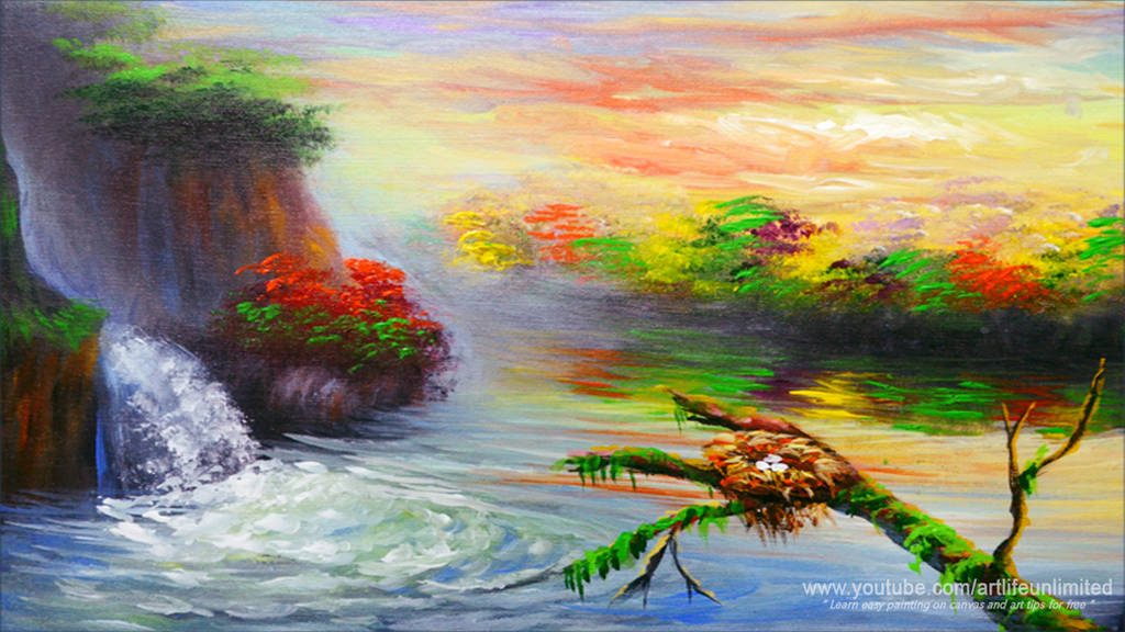 Water Falls in the Lake with Bird Nest by beejay-artlife12