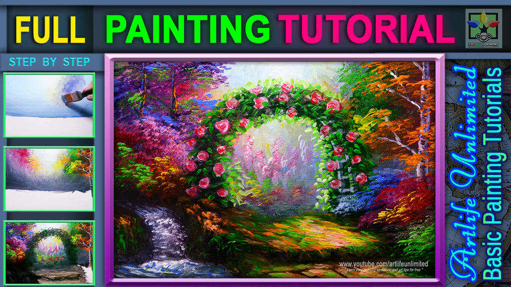 Flowering Garden with Autumn Trees and Water Falls by beejay-artlife12
