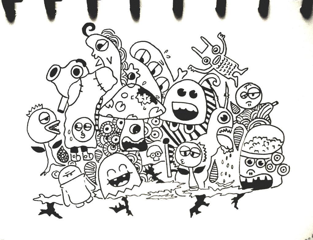 Cute Doodle Monsters Doodle monster by tikaafni25