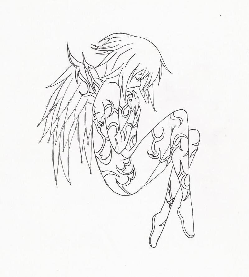 Line Art Angel : Angel line art by darklycutegirl on deviantart