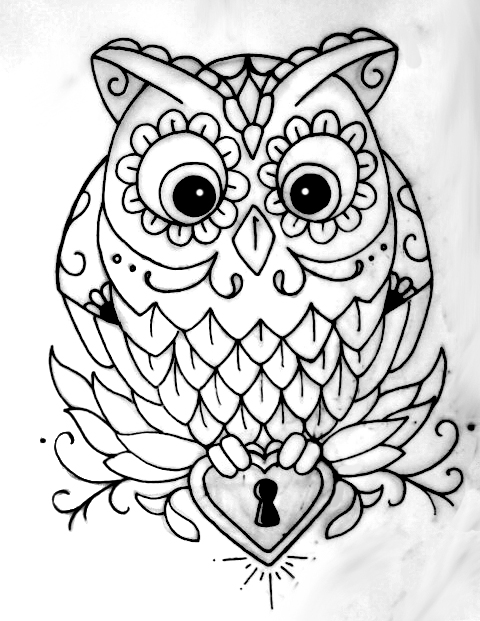 OWL OUTLINE TATTOO by jsgraphix