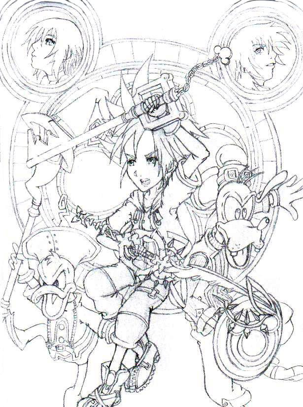 Kingdom Hearts Lineart : Kingdom hearts lineart by mysteriousdbzgt on deviantart