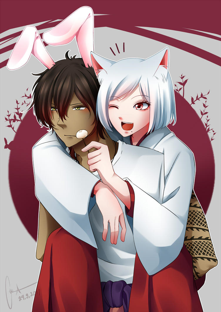 Bunny and kitty by AinaBecce