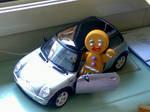 Gingerbread Man in Mini Cooper