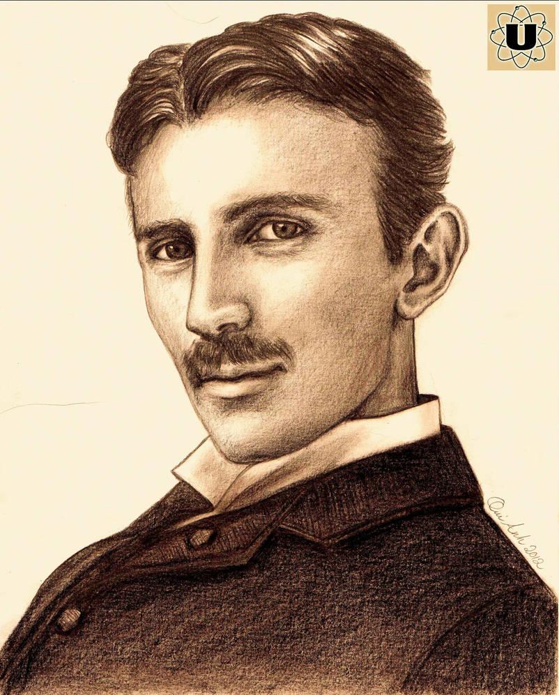 Nikola Tesla - Pencil Portrait by JessicaStarstuff