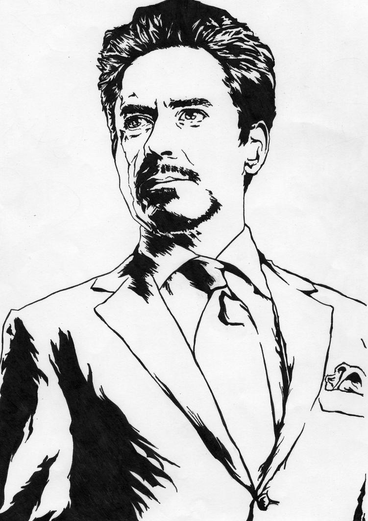 Tony stark iron man robert downey jr by for Tony stark coloring pages