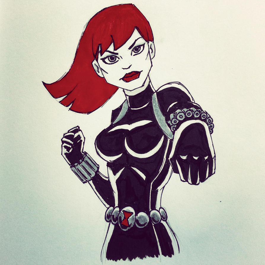 Black Widow Inktober Sketch by JoshBook