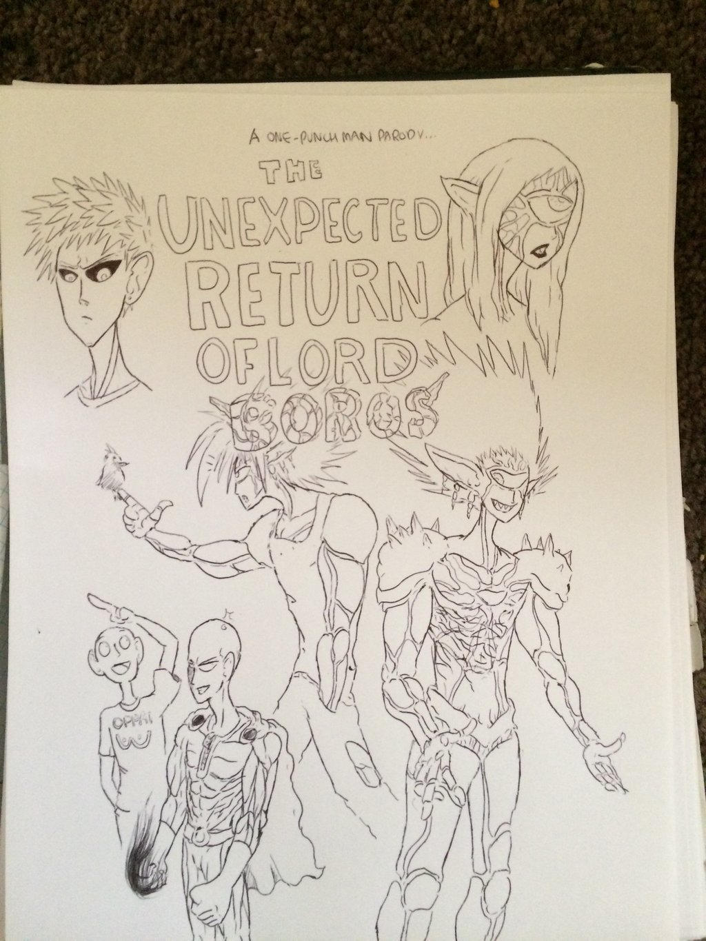 Opm fan comic cover no color by Donthedemon0