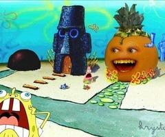 Spongebob and Annoying Orange by kanyebeast