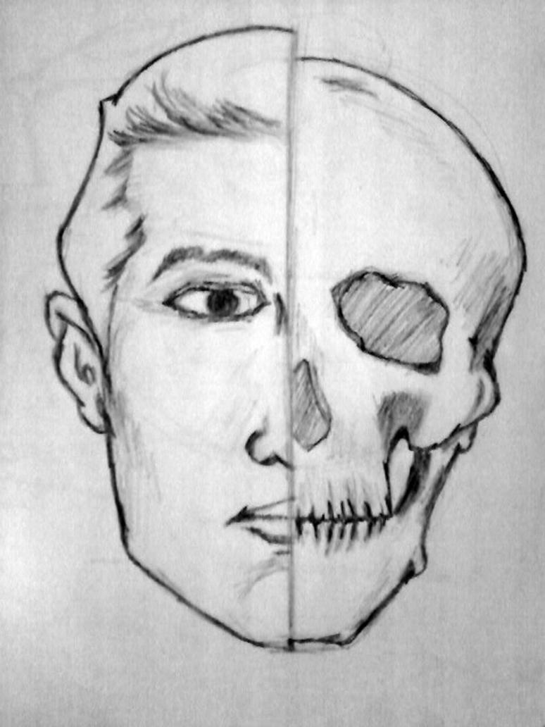 Skeleton Face Line Drawing : Men with half face skeleton by bhanumiracs on deviantart