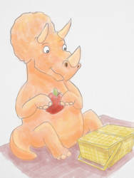 Triceratops Eating an Apple