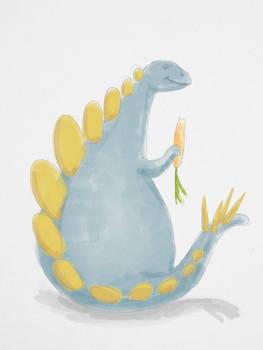 Stegosaurus Eating a Carrot