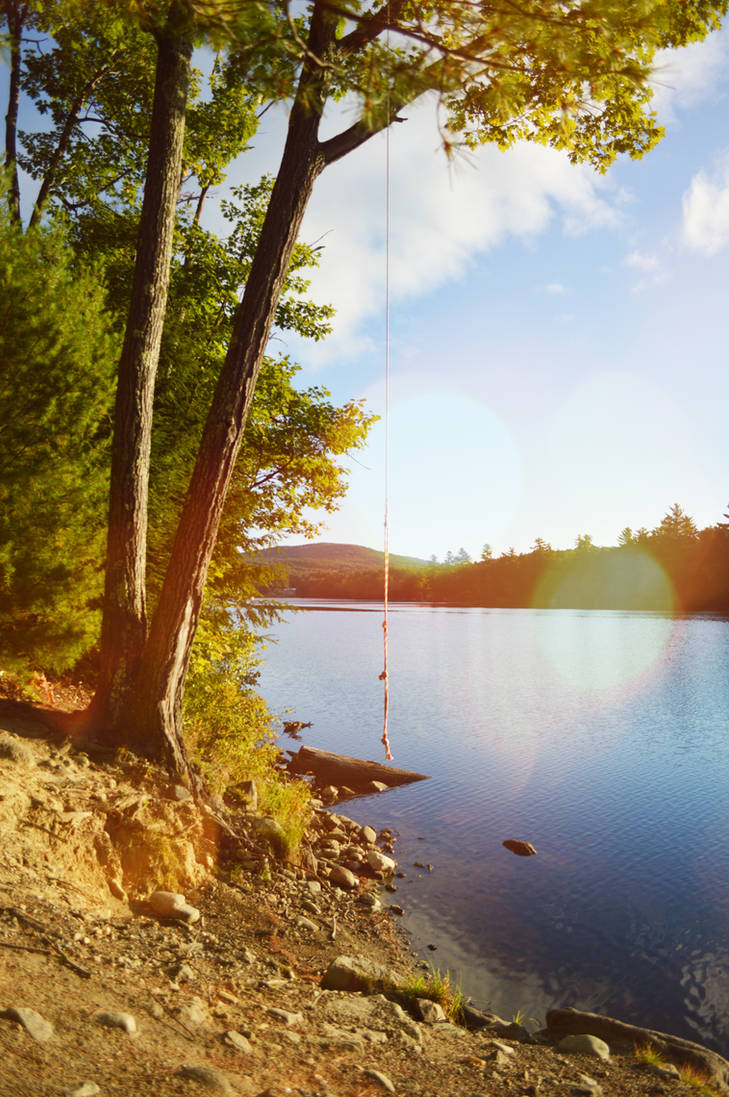 Rope Swing at Minnehonk Lake by WickedOffKiltah