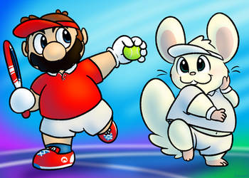 Mario and Oxnard Tennis by nishi