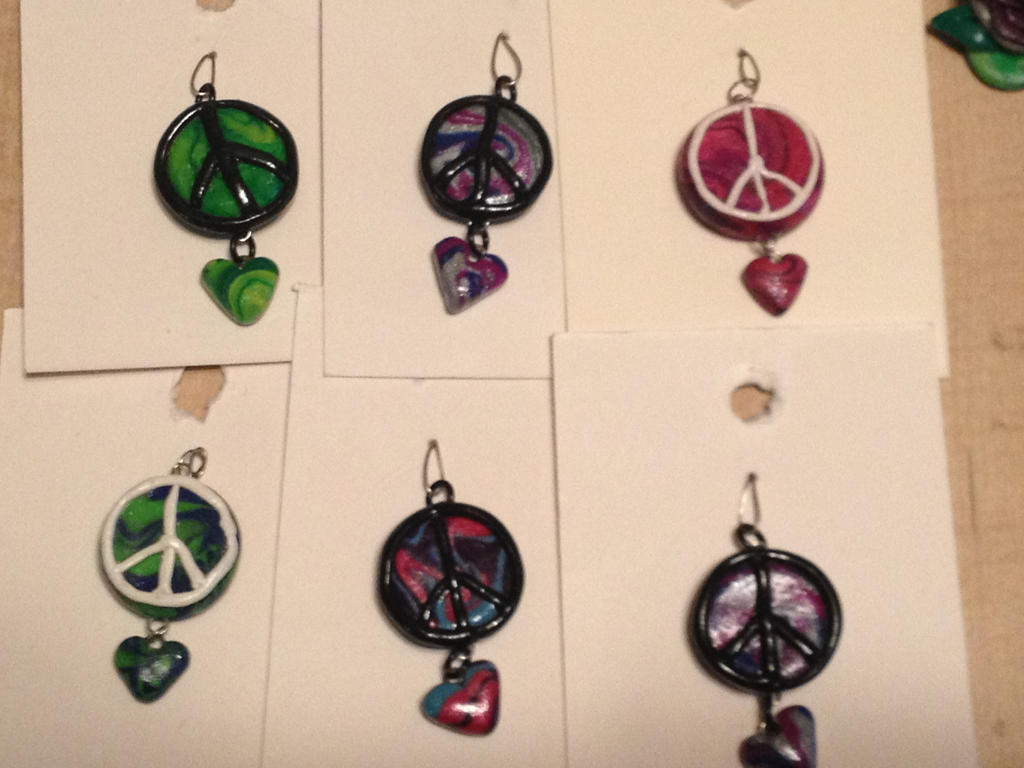 Polymer clay peace sign pendants with dangle heart by polymer clay peace sign pendants with dangle heart by melanisticpanda audiocablefo