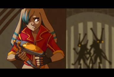 Cera Avoiding the Dranits by Battlelords