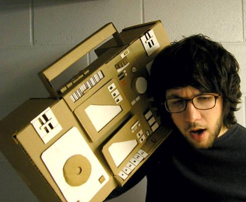 Elbow deep in cardboard.