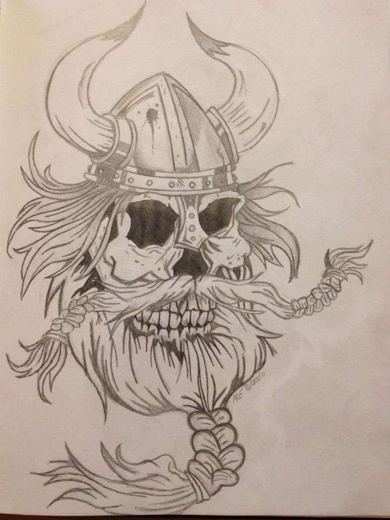 Viking Skull Drawing