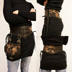 Leather waist belt with his pouch